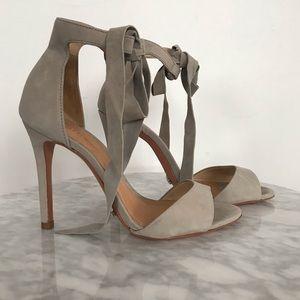Shoes - Schutz Gray Tie Heels w/ Leather Soles